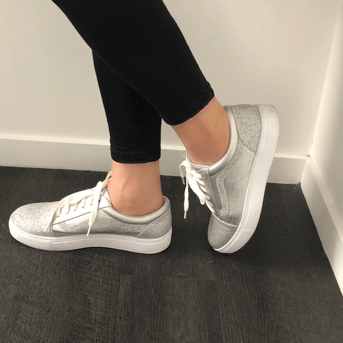 Silver Lace up Sneaker I Santana by Scarlettos