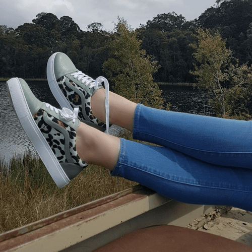 Mint and Leopard Print Lace up Sneaker I Oliver by Scarlettos