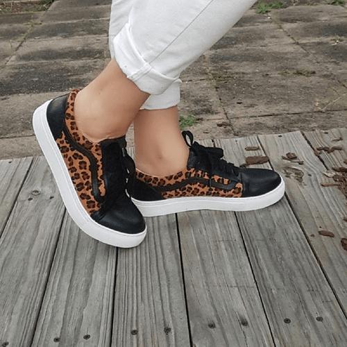 Black Leopard Lace Up Sneaker I Lamar by Scarlettos