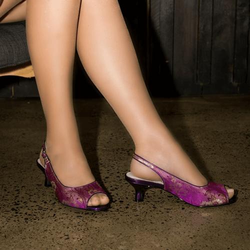 Purple Floral Kitten Heel Slingback I Indi by Scarlettos