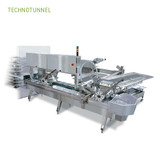 Extrusion tray tunnel for high volume production of ice cream balls on cones