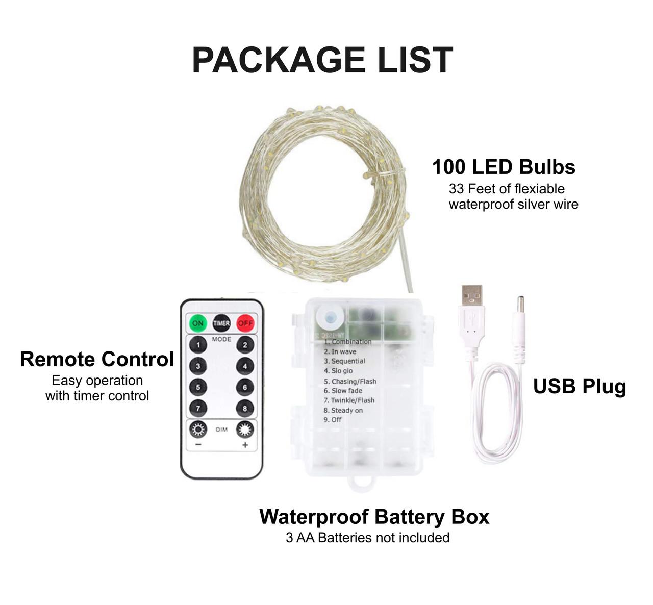 LED Fairy Lights 33 feet 100 LED LIGHTS- Dual power (Battery /USB) Cool WHITE