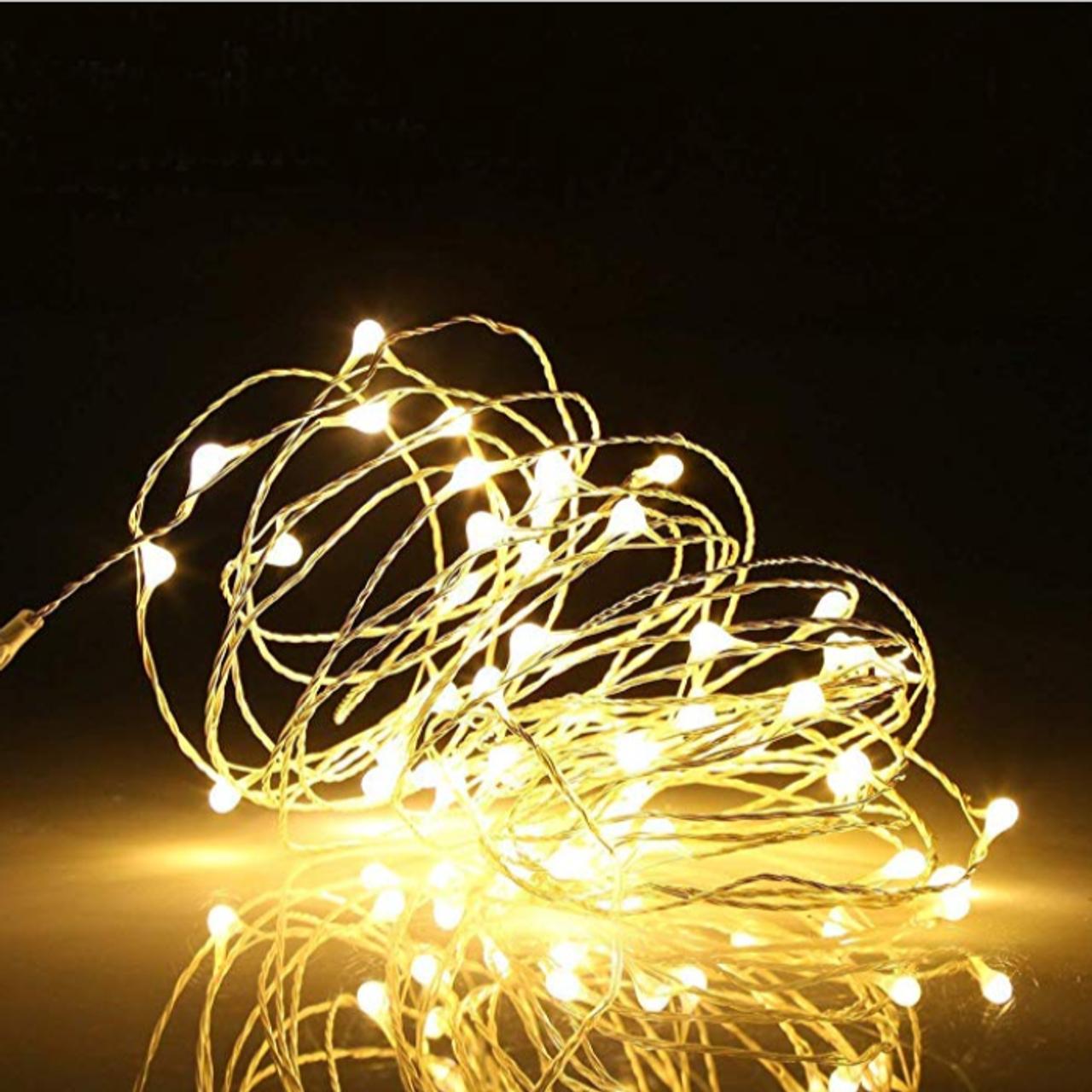 LED Fairy Lights 33 feet 100 LED LIGHTS- Dual power (Battery /USB) Warm White