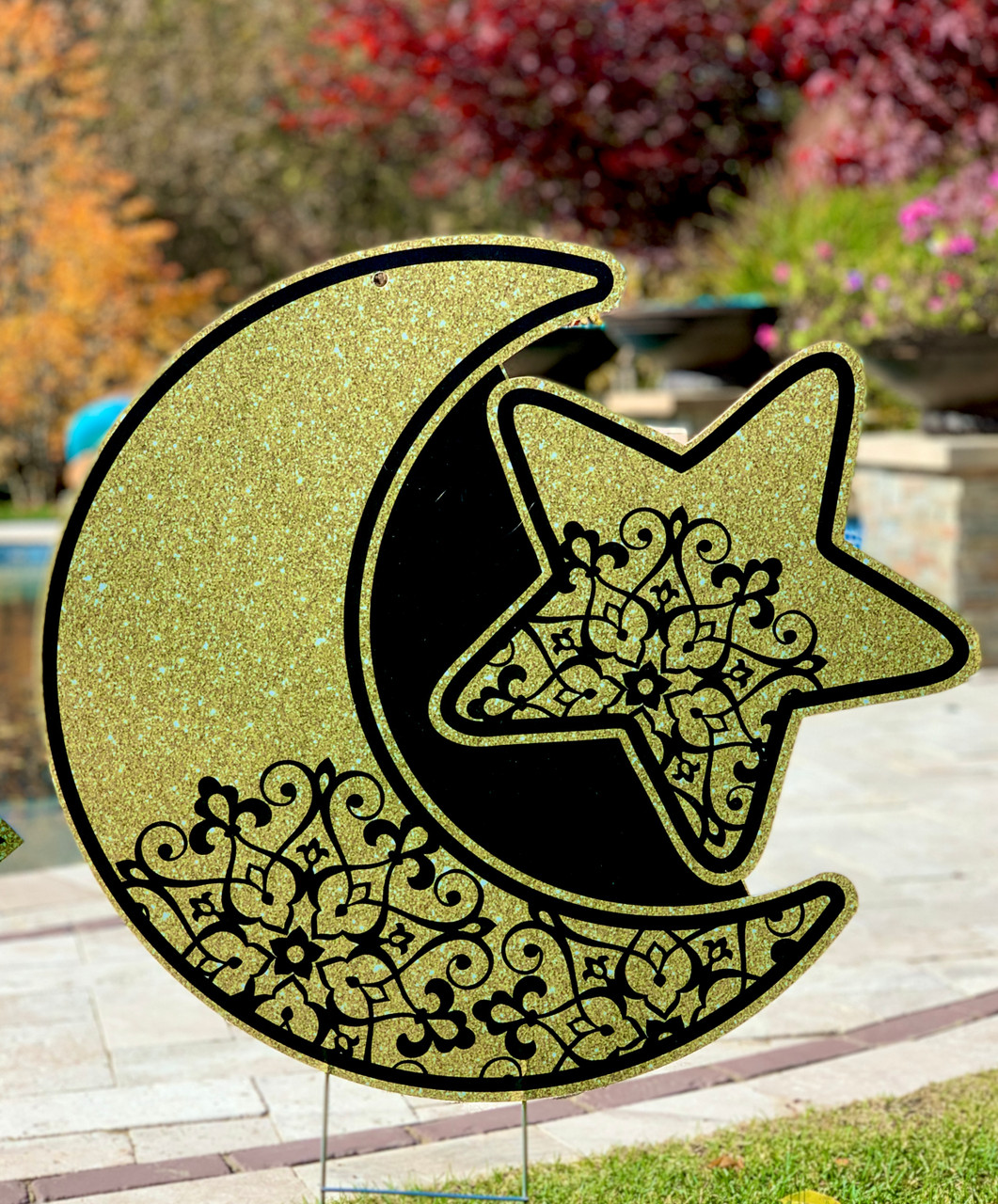 Large Moon and Star Yard Sign-Multi Use Indoor/Outdoor (Stake Included)