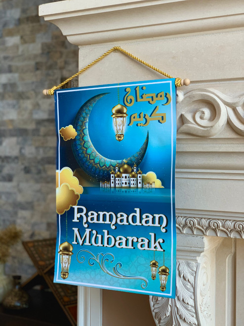 Ramadan Mubarak Blue Hanging Sign