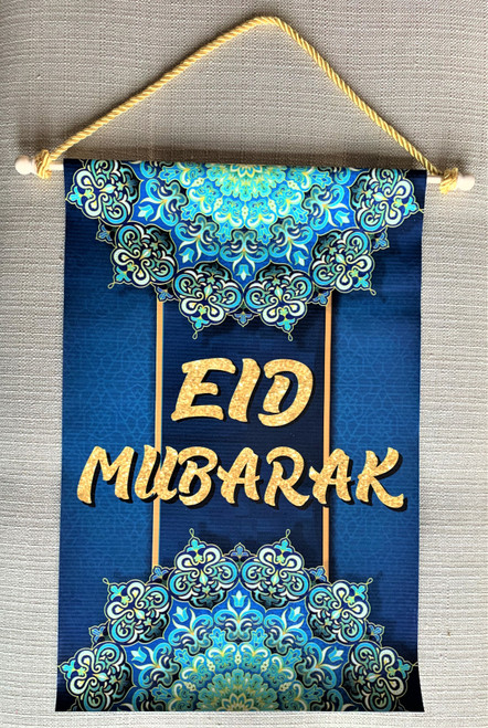 Eid Mubarak Blue Hanging Sign