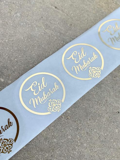 Eid Mubarak Gold foil Stickers Set of 12