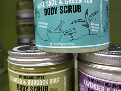 Organic Body Scrub with salts and natural exfoliates in Creamy Coconut to moisturise as you exfoliate
