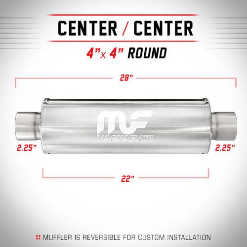 "Magnaflow 10435 | Satin Stainless Magnapack Resonator | 4"" x 4"" Round Body, 2.25"" Center/Center, 22"" Body Length"