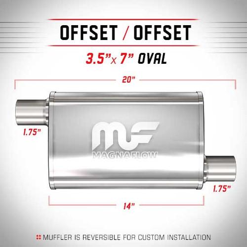 "Magnaflow 11113 Stainless Steel 3.5/"" x 7/"" Oval Muffler 14/"" Body Length"