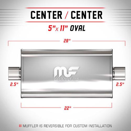 "2.5 O//C 5x11 Oval 22/"" Body MagnaFlow Muffler SS 12586"