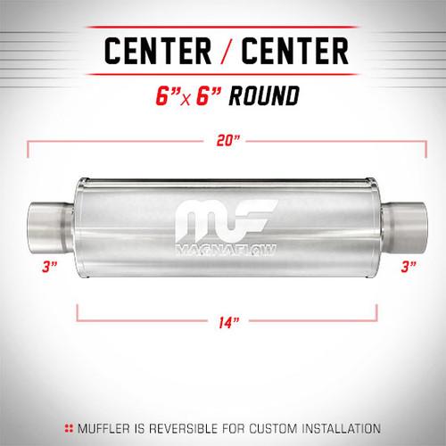 "Magnaflow 12619 | Satin Stainless Muffler | 6"" x 6"" Round Body, 3"" Center/Center, 14"" Body Length"