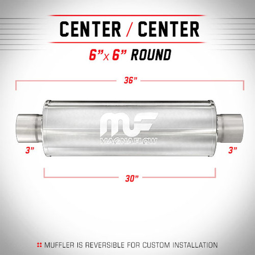 "Magnaflow 12641 | Satin Stainless Muffler | 6"" x 6"" Round Body, 3"" Center/Center, 30"" Body Length"
