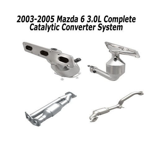 2003-2005 Mazda 6 | 3L | Complete Converter package | Front manifold converter, Rear Manifold converter, right rear converter, left rear converter | direct Fit epa grade