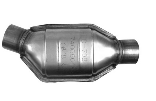 API 740566 | 2.5  in. Oval Body |  Angled Inlet/Center Outlet | Universal California OBDII Catalytic Converter