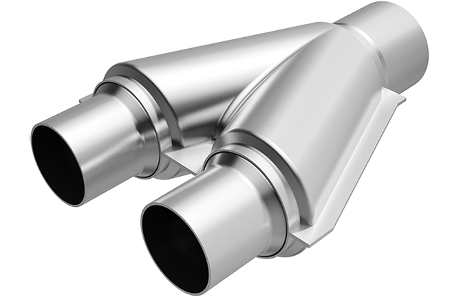 """Magnaflow 10748   2"""" Inlet/2.5""""Outlet   Smooth Transition Y   Universal Pipe"""