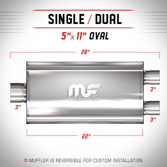 """5x11 Oval 22/"""" MagnaFlow Muffler SS 12599 3/"""" 3/"""""""
