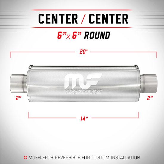 "Magnaflow 12614 | Satin Stainless Muffler | 6"" x 6"" Round Body, 2"" Center/Center, 14"" Body Length"