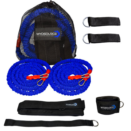 Includes: 2 stretch cords with safety sleeve, 2 pole attachment straps, 2 assistor/anchor straps, 1 adjustable belt, 1 leg strap, 1 mesh travel bag
