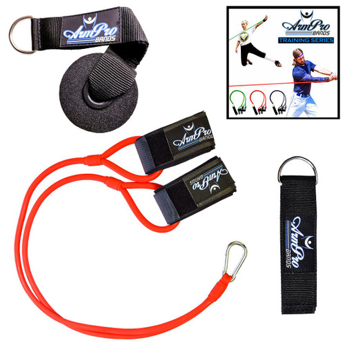 Available in 3 different levels of resistance so baseball and softball players of all ages can improve upper body strength.  Includes anchor strap for pole/beam attachment and door mount with d-ring.