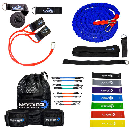 This high performance pitching package includes: ArmPro Bands (with anchor strap and door mount with d-ring); Acceleration Speed Cord (3 belt sizes available); Kinetic Bands (2 levels available); Mini Loop Hip Bands (set of 7).