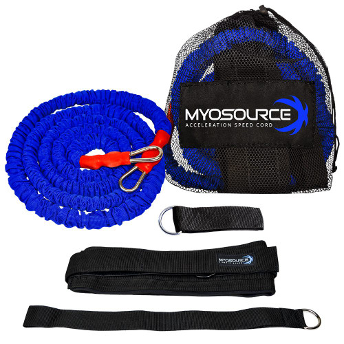 Includes: 1 Training Belt, 1 Blue Speed Cord, 1 Assistant Hand Strap, 1 Anchor Strap, and Handy Travel Bag.