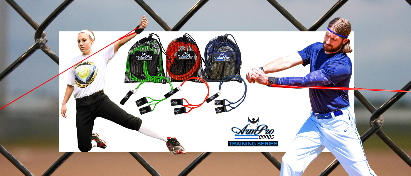 Arm Pro Bands are used for strength training and injury prevention for softball and baseball players.