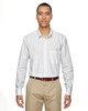 White - 87044 North End Align Wrinkle-Resistant Cotton Blend Dobby Vertical Striped Shirt | Blankclothing.ca