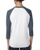 Indigo/Heather White - back 6051 Next Level Unisex Tri-Blend 3/4-Sleeve Raglan Tee | Blankclothing.ca