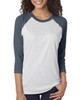 Indigo/Heather White - 6051 Next Level Unisex Tri-Blend 3/4-Sleeve Raglan Tee | Blankclothing.ca