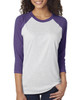 Purple Rush/Heather White - 6051 Next Level Unisex Tri-Blend 3/4-Sleeve Raglan Tee | Blankclothing.ca