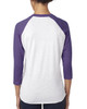 Purple Rush/Heather White - back 6051 Next Level Unisex Tri-Blend 3/4-Sleeve Raglan Tee | Blankclothing.ca