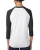 Vintage Black/Heather White - Back 6051 Next Level Unisex Tri-Blend 3/4-Sleeve Raglan Tee | Blankclothing.ca
