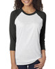 Vintage Black/Heather White - 6051 Next Level Unisex Tri-Blend 3/4-Sleeve Raglan Tee | Blankclothing.ca