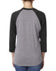 Vintage Black/Heather - back 6051 Next Level Unisex Tri-Blend 3/4-Sleeve Raglan Tee | Blankclothing.ca
