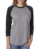 Vintage Black/Heather - 6051 Next Level Unisex Tri-Blend 3/4-Sleeve Raglan Tee | Blankclothing.ca