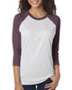 Vintage Purple/Heather White - 6051 Next Level Unisex Tri-Blend 3/4-Sleeve Raglan Tee | Blankclothing.ca