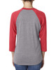 Vintage Red/Heather - back 6051 Next Level Unisex Tri-Blend 3/4-Sleeve Raglan Tee | Blankclothing.ca