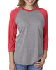 Vintage Red/Heather - 6051 Next Level Unisex Tri-Blend 3/4-Sleeve Raglan Tee | Blankclothing.ca
