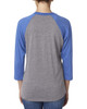 Vintage Royal/Heather - back 6051 Next Level Unisex Tri-Blend 3/4-Sleeve Raglan Tee | Blankclothing.ca