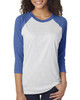 Vintage Royal/Heather White - 6051 Next Level Unisex Tri-Blend 3/4-Sleeve Raglan Tee | Blankclothing.ca