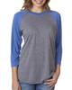 Vintage Royal/Heather - 6051 Next Level Unisex Tri-Blend 3/4-Sleeve Raglan Tee | Blankclothing.ca
