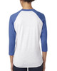Vintage Royal/Heather White - back 6051 Next Level Unisex Tri-Blend 3/4-Sleeve Raglan Tee | Blankclothing.ca