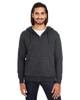 Black Heather - 321Z Threadfast Unisex Triblend French Terry Full-Zip Sweater | Blankclothing.ca