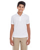 White - 88181Y Ash City - Core 365 Youth Origin Performance Pique Polo Shirt | Blankclothing.ca