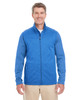 French Blue / French Blue Heather - DG796 Devon & Jones Men's Newbury Colorblock Mélange Fleece Full-Zip Sweater