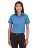 French Blue - D620SW Devon & Jones Ladies' Crown Collection™ Solid Broadcloth Short Sleeve Shirt | Blankclothing.ca