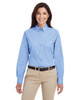 Industry Blue - M581W Harriton Ladies' Foundation 100% Cotton Long Sleeve Twill Shirt with Teflon™