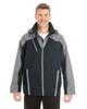 Black/Grey/Grey - FRONT - NE700 Ash City - North End Men's Embark Colorblock Interactive Shell Jacket with Reflective Printed Panels | Blankclothing.ca