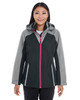 Black/Grey/Red - FRONT - NE700W Ash City - North End Ladies' Embark Colorblock Interactive Shell Jacket with Reflective Printed Panels | Blankclothing.ca